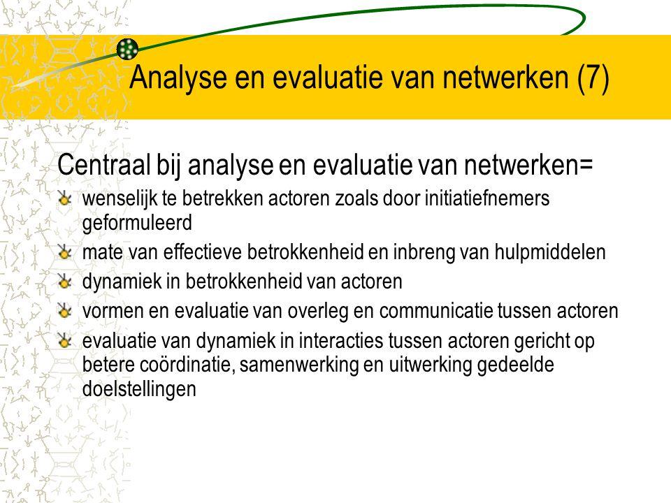 Analyse en evaluatie van netwerken (7)