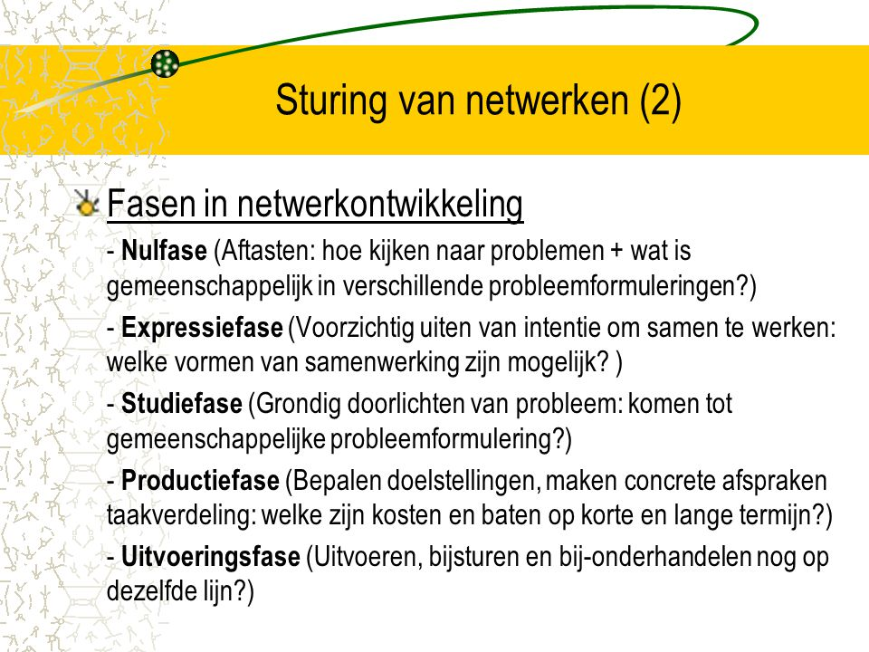Sturing van netwerken (2)