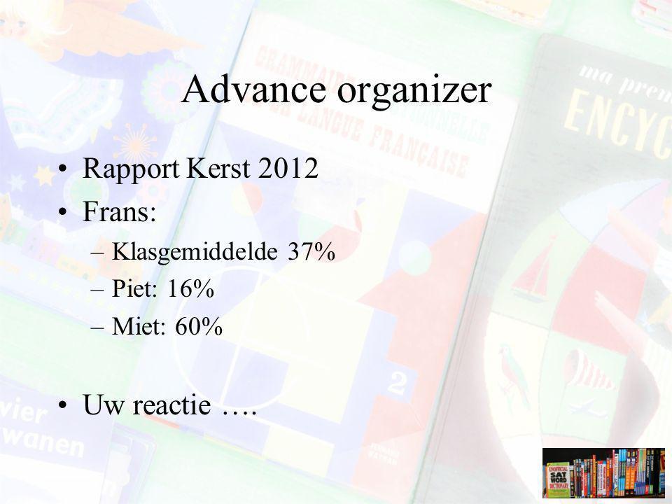 Advance organizer Rapport Kerst 2012 Frans: Uw reactie ….