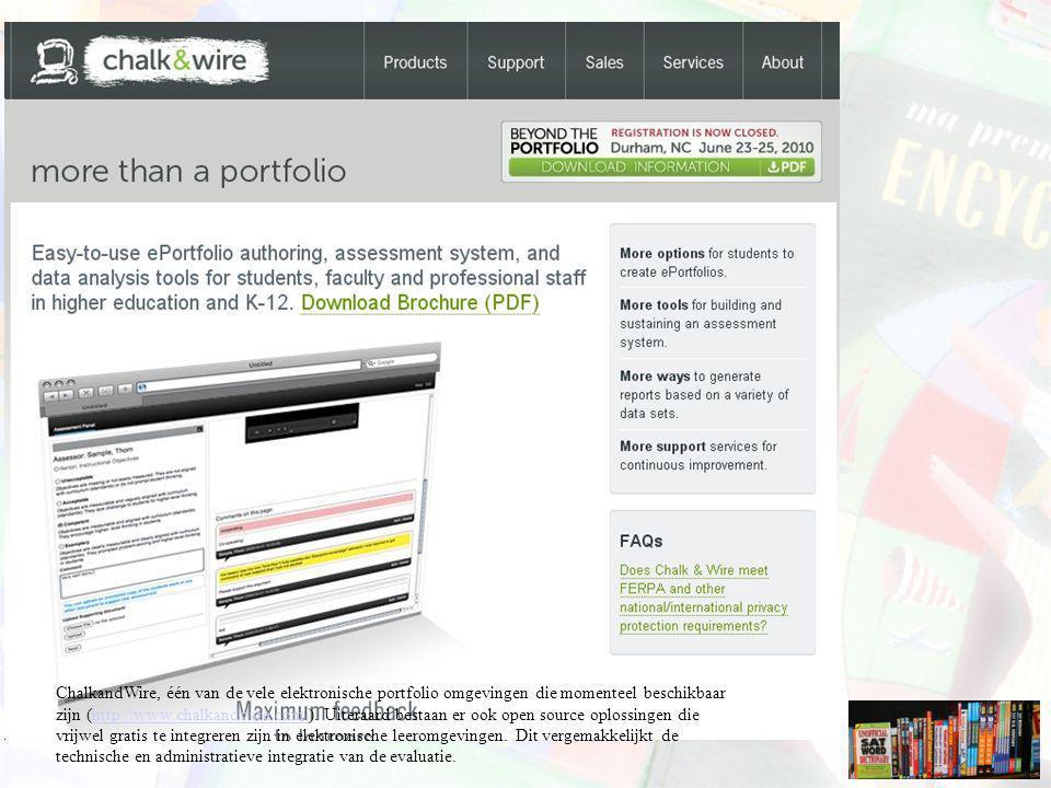 ChalkandWire, één van de vele elektronische portfolio omgevingen die momenteel beschikbaar zijn (http://www.chalkandwire.com/).