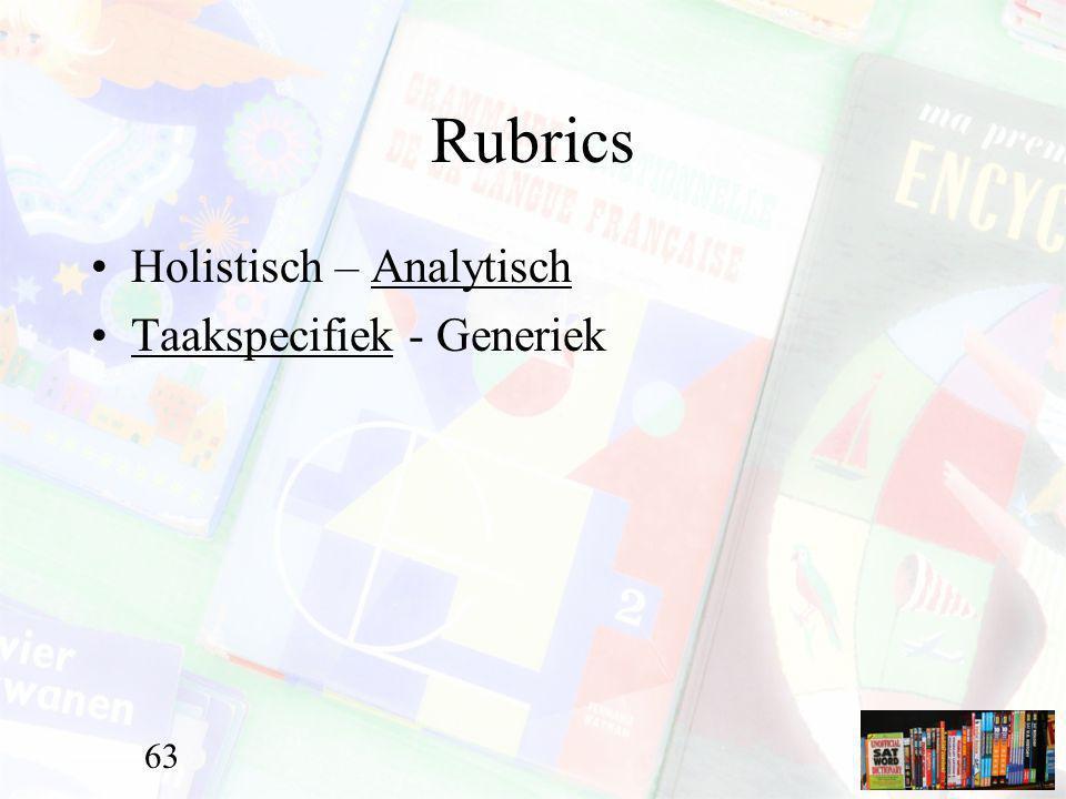 Rubrics Holistisch – Analytisch Taakspecifiek - Generiek