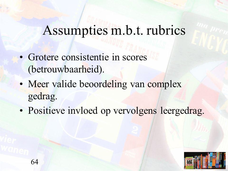 Assumpties m.b.t. rubrics