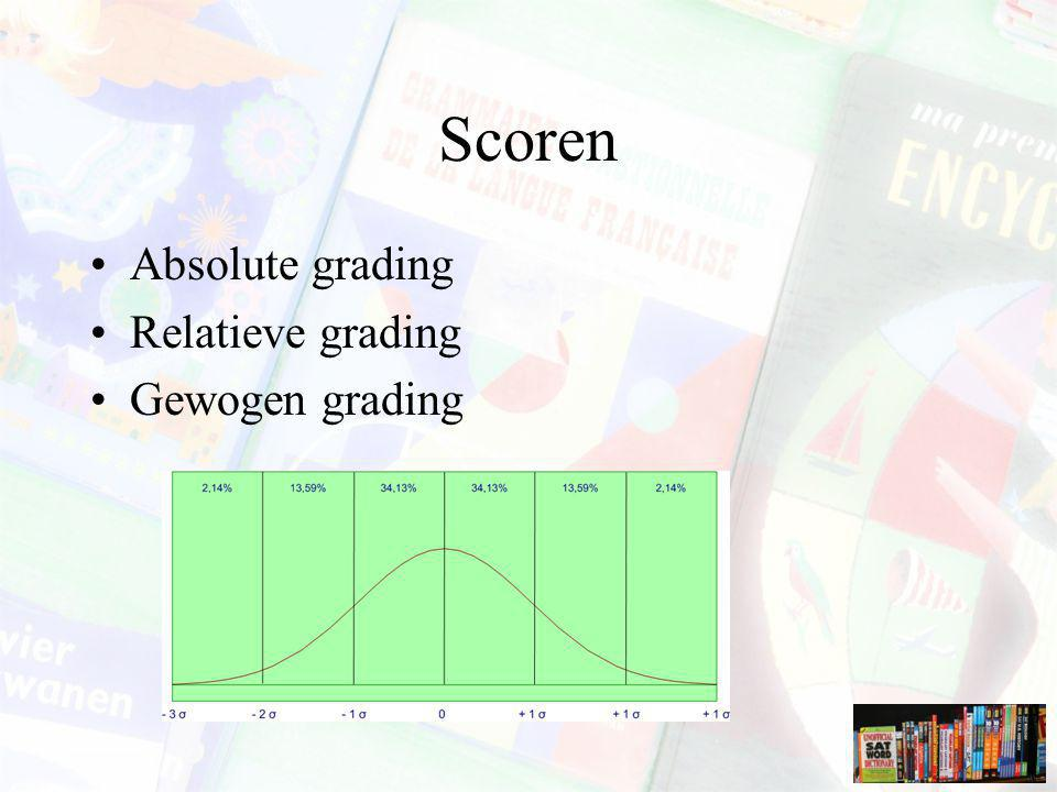 Scoren Absolute grading Relatieve grading Gewogen grading