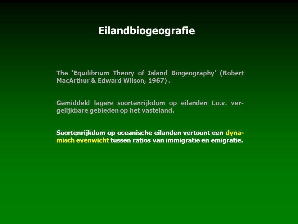 Eilandbiogeografie The 'Equilibrium Theory of Island Biogeography' (Robert MacArthur & Edward Wilson, 1967) .