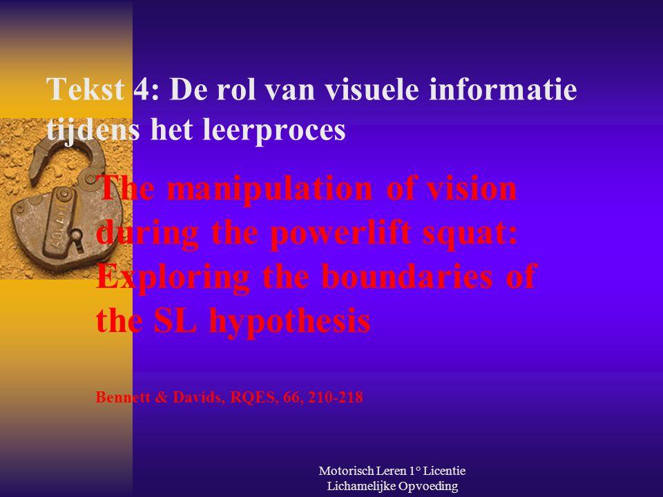 Tekst 4: De rol van visuele informatie tijdens het leerproces