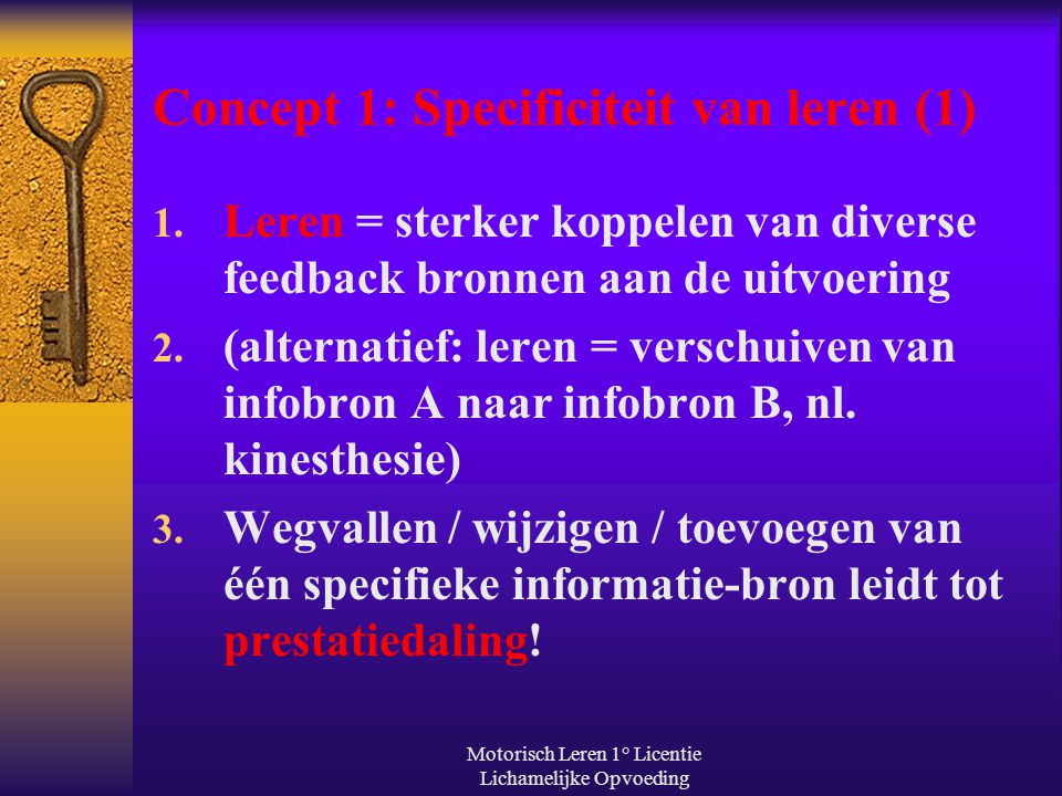 Concept 1: Specificiteit van leren (1)