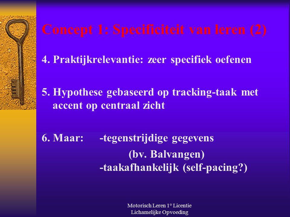 Concept 1: Specificiteit van leren (2)