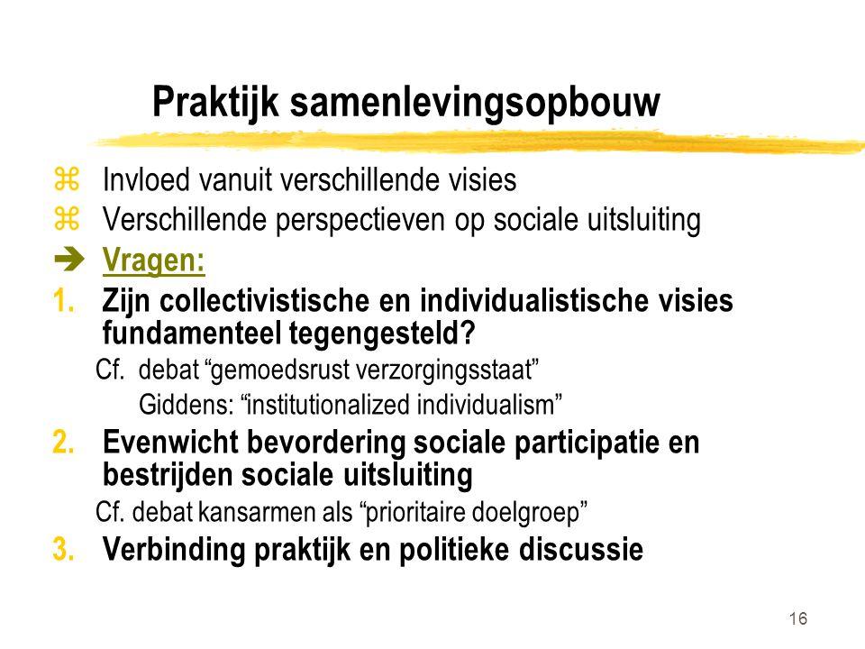 Praktijk samenlevingsopbouw