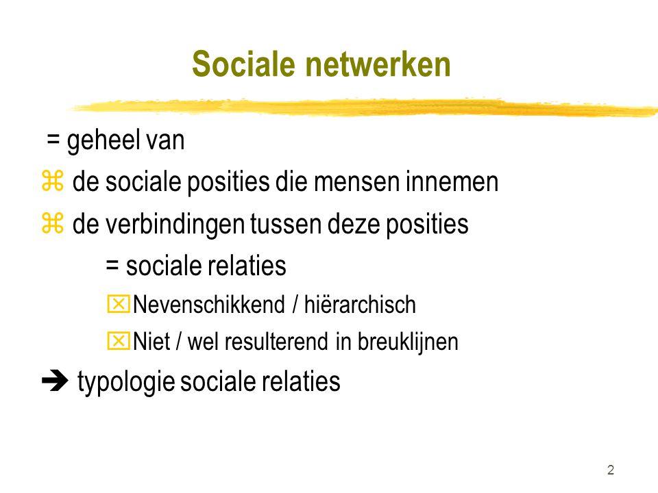 Sociale netwerken = geheel van de sociale posities die mensen innemen
