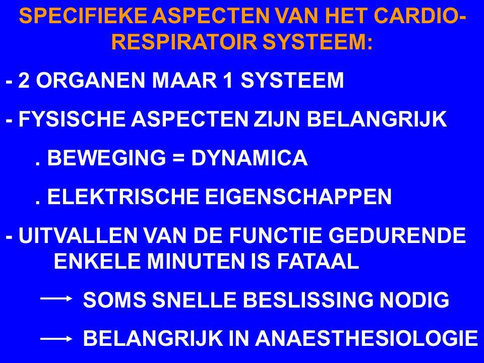 SPECIFIEKE ASPECTEN VAN HET CARDIO-RESPIRATOIR SYSTEEM: