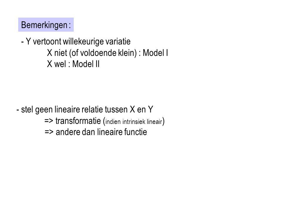 Bemerkingen : - Y vertoont willekeurige variatie. X niet (of voldoende klein) : Model I. X wel : Model II.