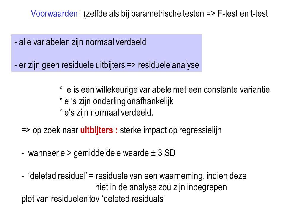 Voorwaarden : (zelfde als bij parametrische testen => F-test en t-test