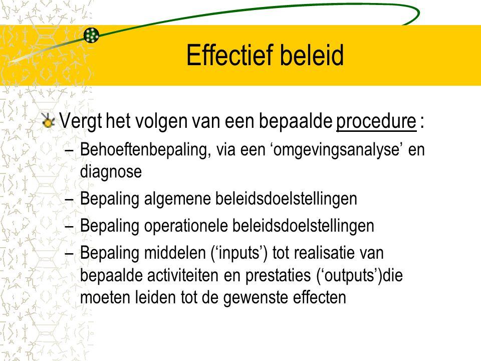 Effectief beleid Vergt het volgen van een bepaalde procedure :