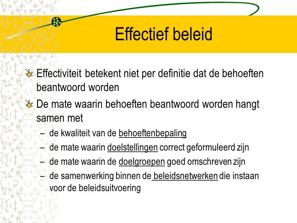 Effectief beleid Effectiviteit betekent niet per definitie dat de behoeften beantwoord worden.
