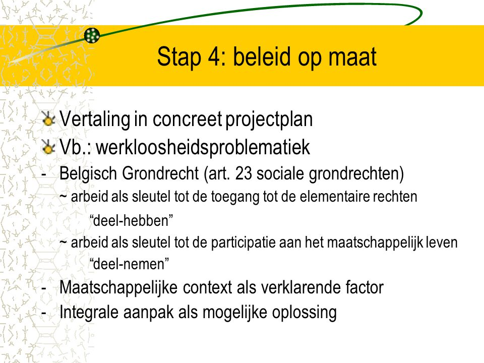 Stap 4: beleid op maat Vertaling in concreet projectplan