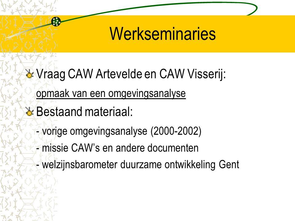 Werkseminaries Vraag CAW Artevelde en CAW Visserij: