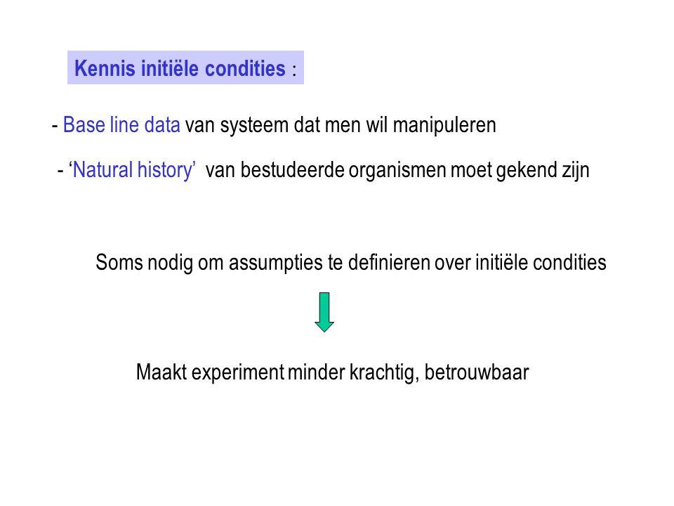 Kennis initiële condities :