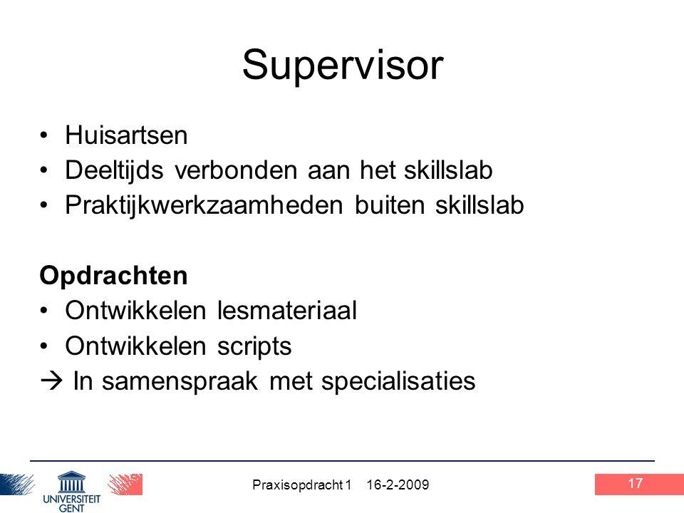 Supervisor Huisartsen Deeltijds verbonden aan het skillslab