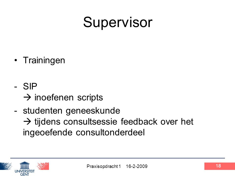 Supervisor Trainingen SIP  inoefenen scripts
