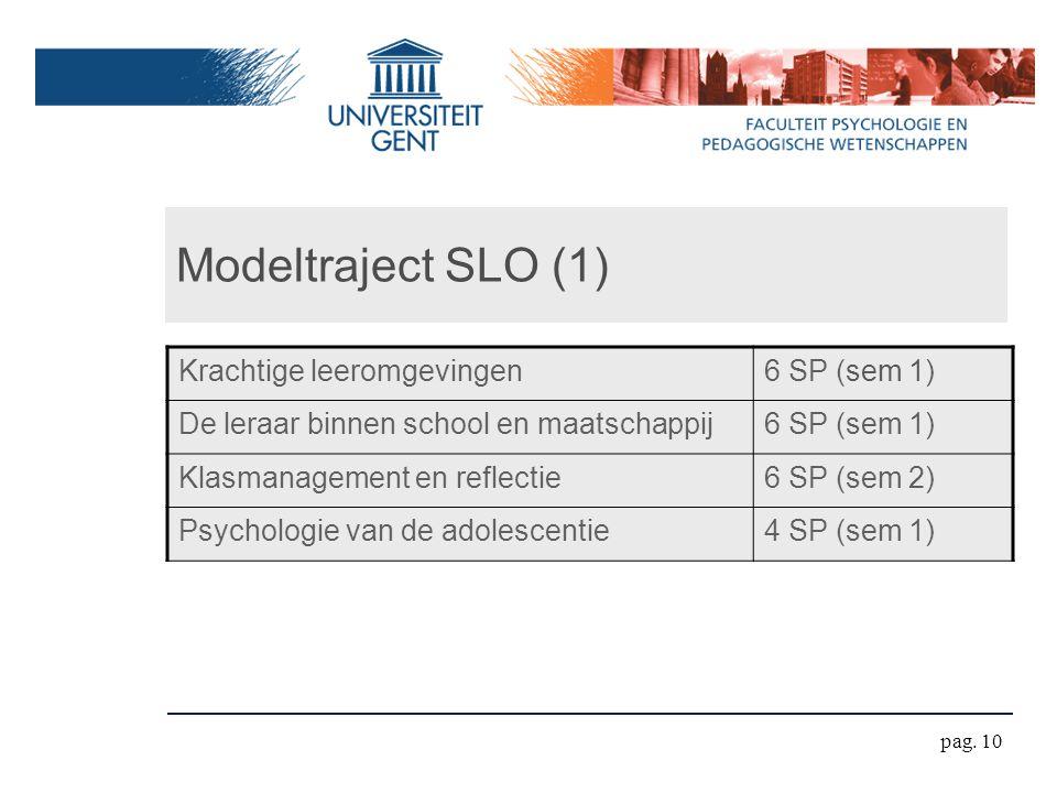 Modeltraject SLO (1) Krachtige leeromgevingen 6 SP (sem 1)