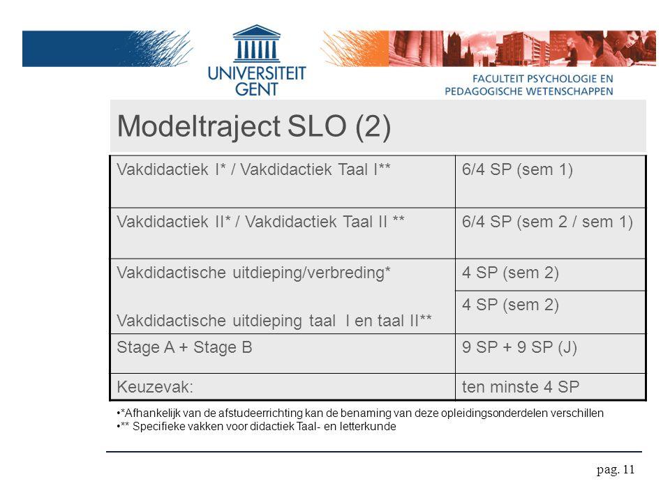 Modeltraject SLO (2) Vakdidactiek I* / Vakdidactiek Taal I**
