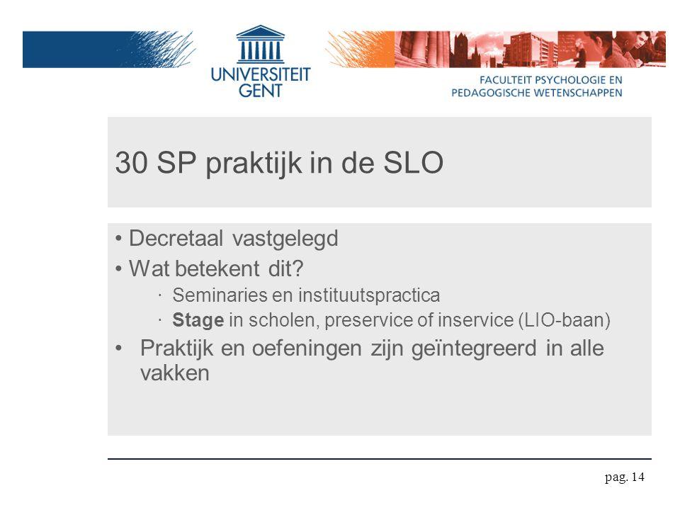 30 SP praktijk in de SLO Decretaal vastgelegd Wat betekent dit