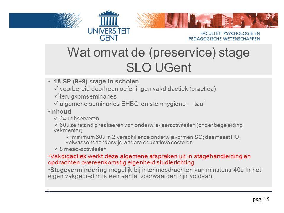 Wat omvat de (preservice) stage SLO UGent