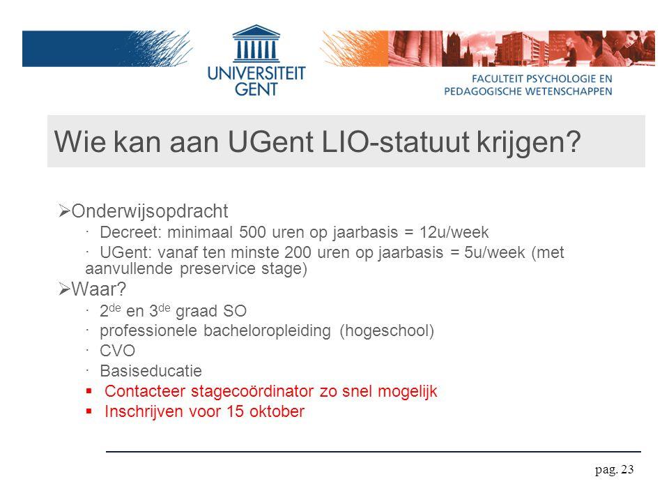 Wie kan aan UGent LIO-statuut krijgen
