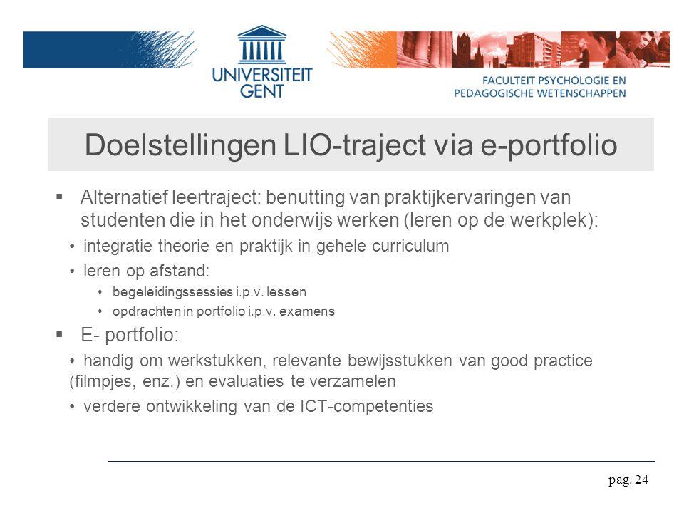 Doelstellingen LIO-traject via e-portfolio