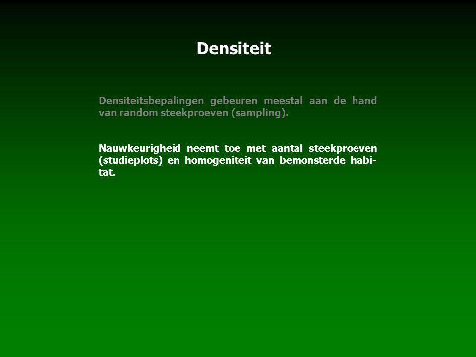 Densiteit Densiteitsbepalingen gebeuren meestal aan de hand van random steekproeven (sampling).
