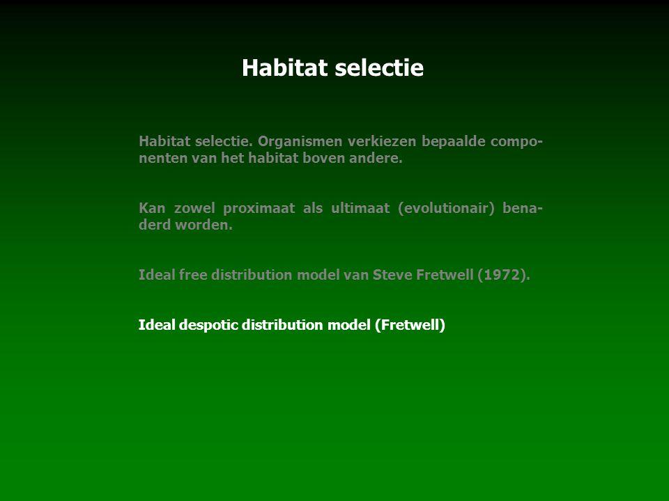 Habitat selectie Habitat selectie. Organismen verkiezen bepaalde compo-nenten van het habitat boven andere.