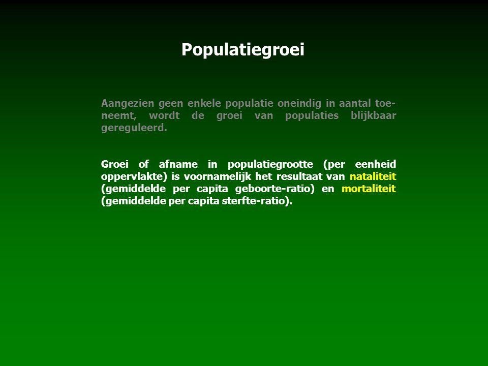 Populatiegroei Aangezien geen enkele populatie oneindig in aantal toe-neemt, wordt de groei van populaties blijkbaar gereguleerd.