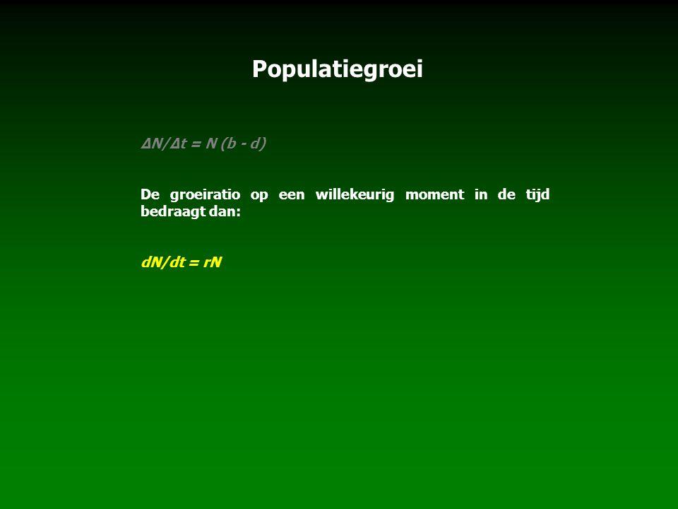 Populatiegroei ∆N/∆t = N (b - d)