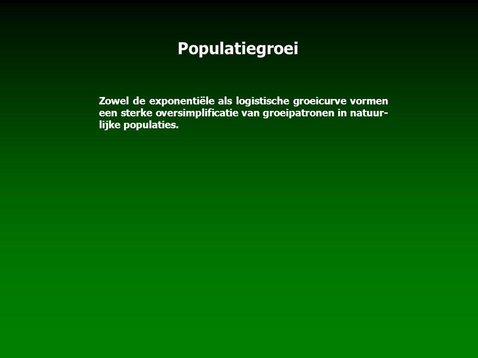 Populatiegroei Zowel de exponentiële als logistische groeicurve vormen een sterke oversimplificatie van groeipatronen in natuur-lijke populaties.