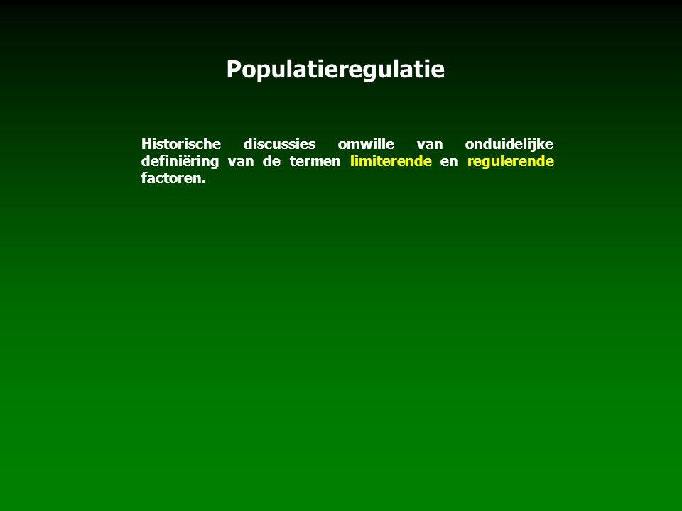 Populatieregulatie Historische discussies omwille van onduidelijke definiëring van de termen limiterende en regulerende factoren.