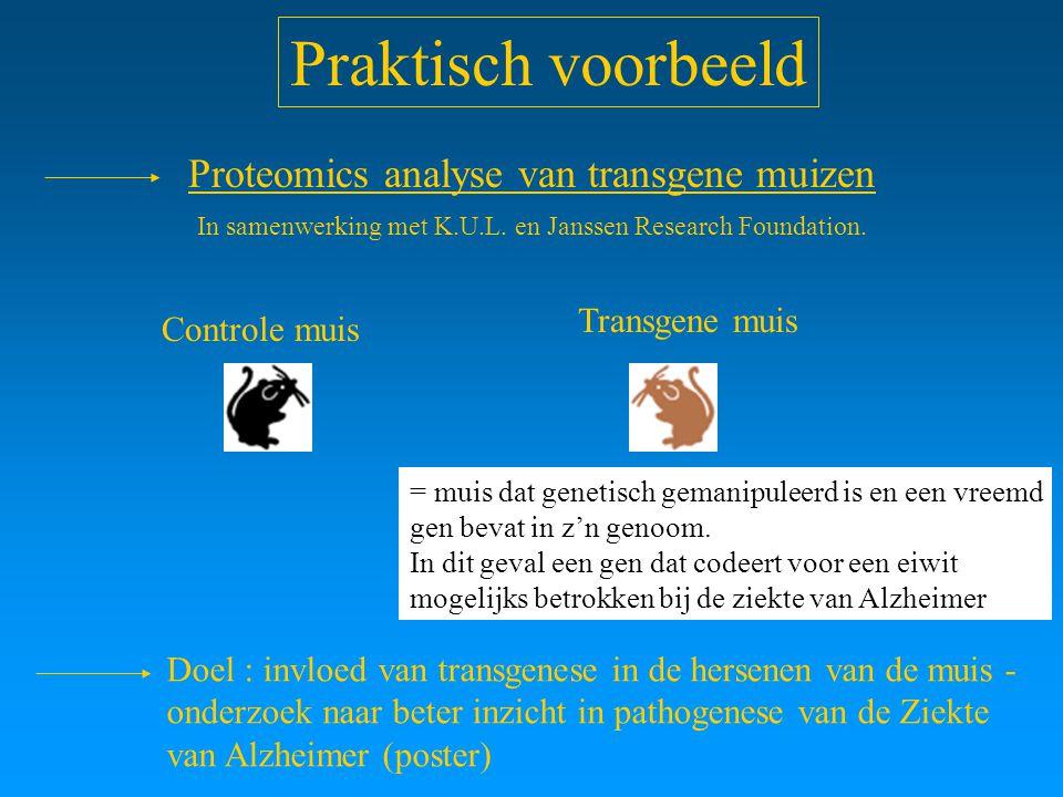 Praktisch voorbeeld Proteomics analyse van transgene muizen