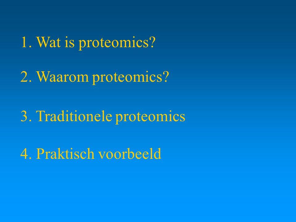 1. Wat is proteomics 2. Waarom proteomics 3. Traditionele proteomics 4. Praktisch voorbeeld
