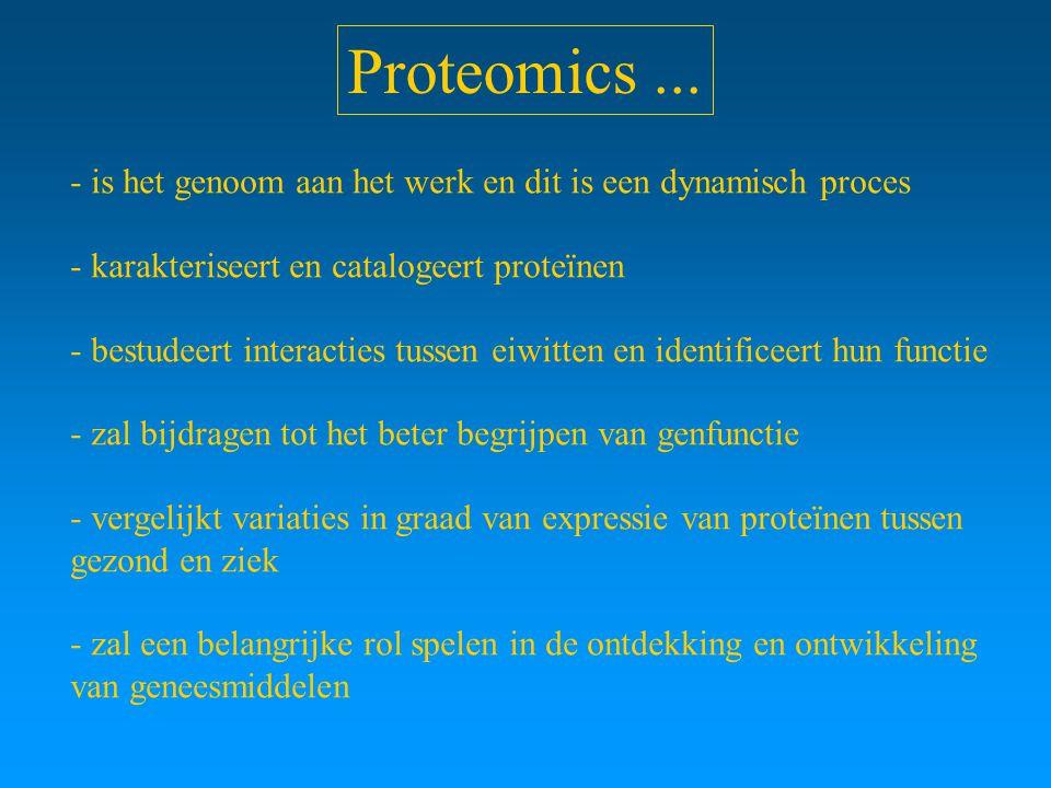 Proteomics ... - is het genoom aan het werk en dit is een dynamisch proces. - karakteriseert en catalogeert proteïnen.