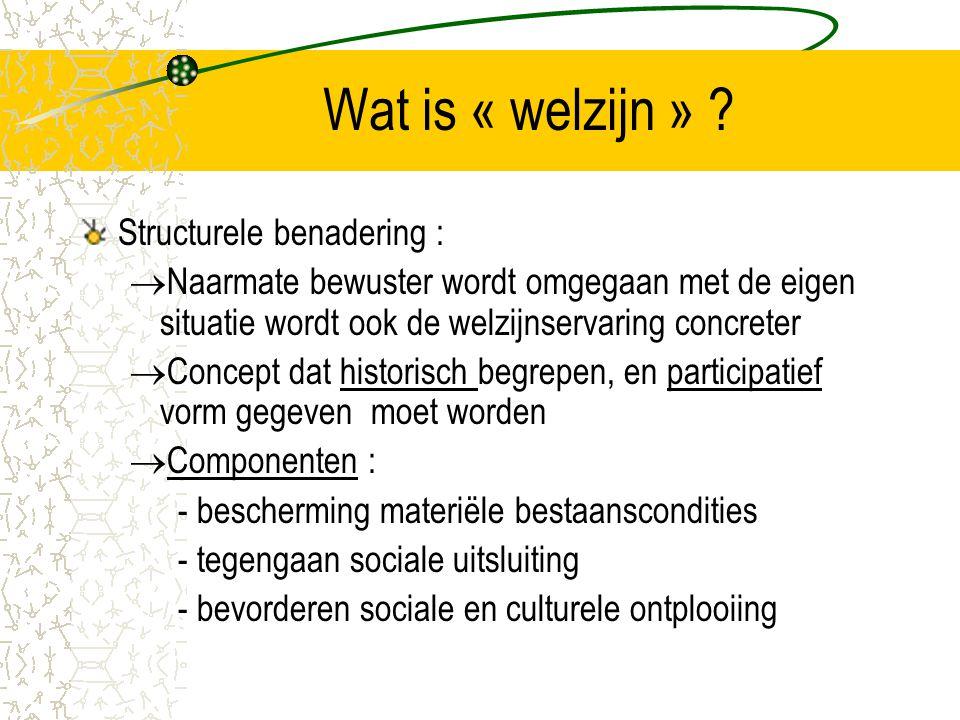 Wat is « welzijn » Structurele benadering :