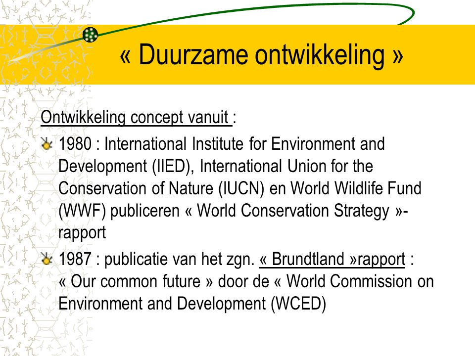 « Duurzame ontwikkeling »