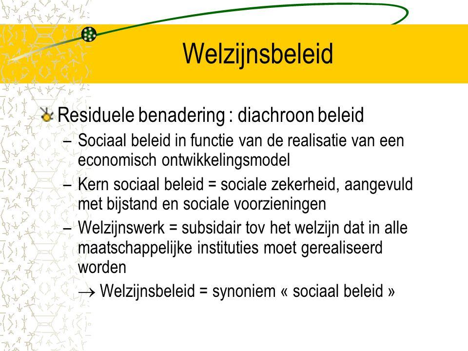 Welzijnsbeleid Residuele benadering : diachroon beleid