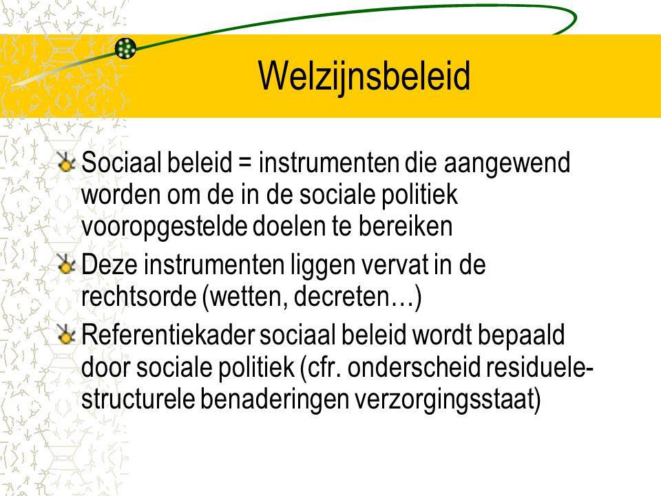 Welzijnsbeleid Sociaal beleid = instrumenten die aangewend worden om de in de sociale politiek vooropgestelde doelen te bereiken.