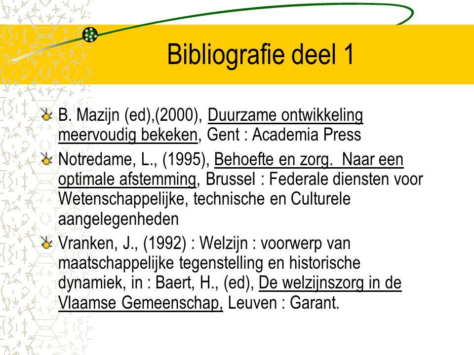 Bibliografie deel 1 B. Mazijn (ed),(2000), Duurzame ontwikkeling meervoudig bekeken, Gent : Academia Press.