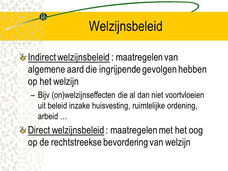 Welzijnsbeleid Indirect welzijnsbeleid : maatregelen van algemene aard die ingrijpende gevolgen hebben op het welzijn.