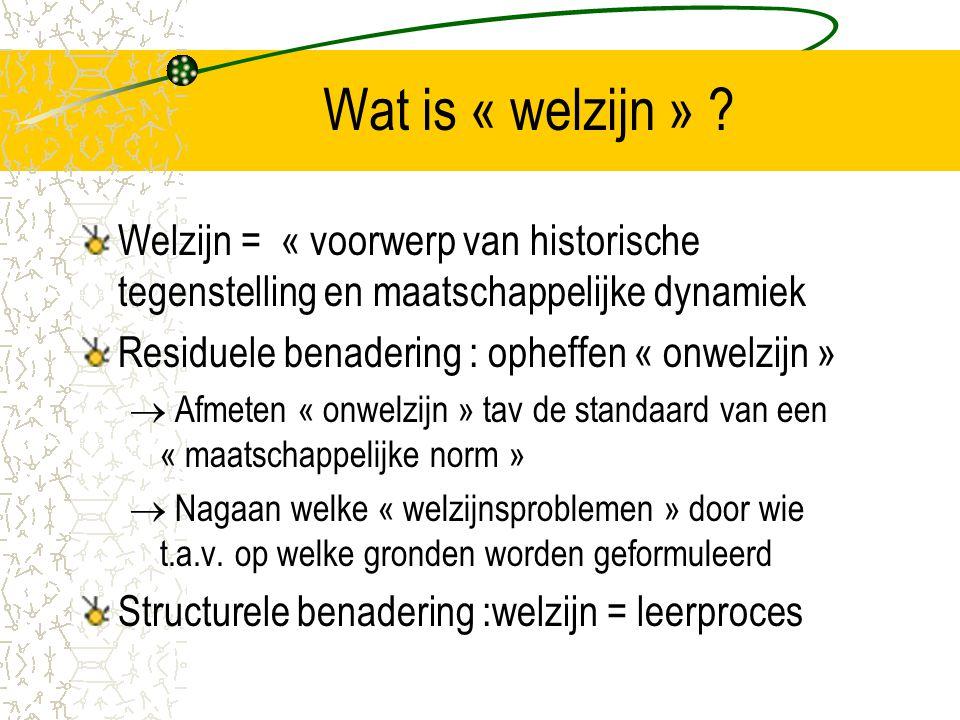 Wat is « welzijn » Welzijn = « voorwerp van historische tegenstelling en maatschappelijke dynamiek