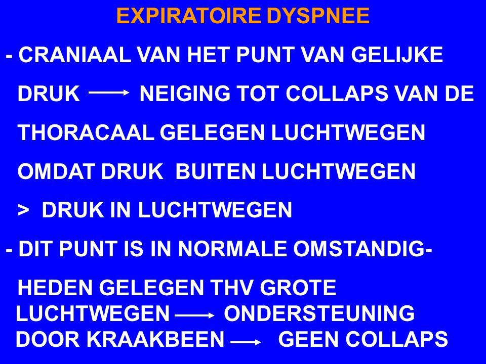 EXPIRATOIRE DYSPNEE - CRANIAAL VAN HET PUNT VAN GELIJKE. DRUK NEIGING TOT COLLAPS VAN DE.