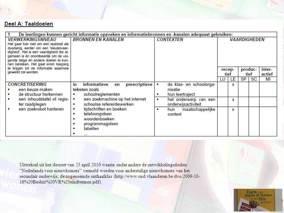 Uittreksel uit het decreet van 23 april 2010 waarin onder andere de ontwikkelingsdoelen Nederlands voor nieuwkomers vermeld worden voor anderstalige nieuwkomers van het secundair onderwijs; de zogenoemde onthaalklas (http://www.ond.vlaanderen.be/dvo/2009-10-16%20Besluit%20VR%20eindtermen.pdf).