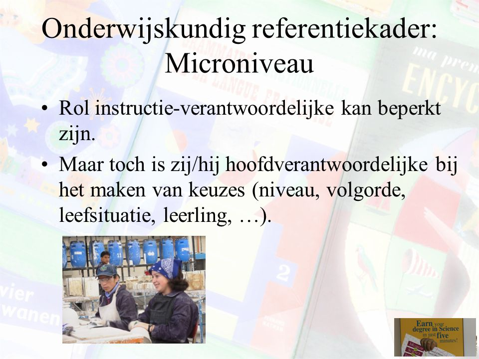Onderwijskundig referentiekader: Microniveau