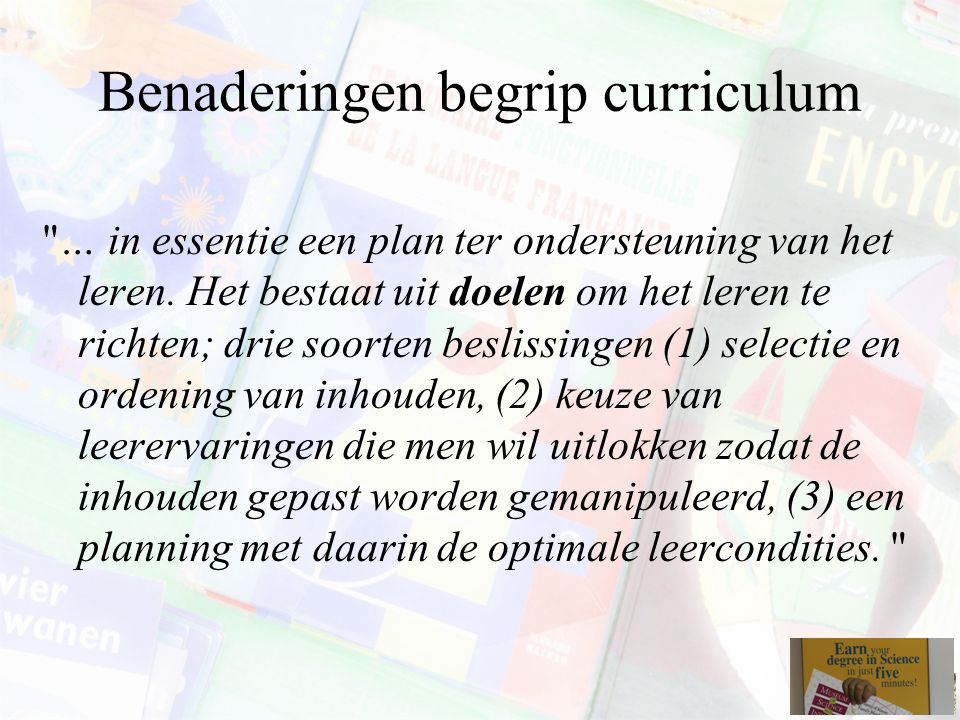Benaderingen begrip curriculum