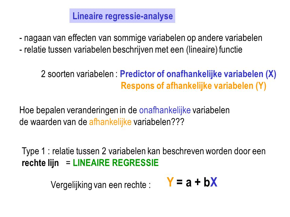 Y = a + bX Lineaire regressie-analyse
